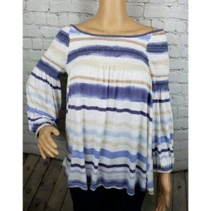 Anthro Meadow Rue Striped Smocked Peasant Blouse